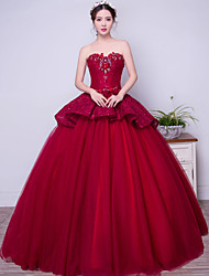 cheap -Ball Gown Princess Strapless Floor Length Lace Satin Tulle Formal Evening Dress with Beading Bow(s) by SG