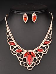baratos -Azul Vermelho Cristal Conjunto de jóias - Casamento Incluir Vermelho / Azul Real Para Casamento Festa Ocasião Especial / Aniversário / Presente