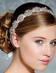 cheap -Full Crystal Ribbon Satin Lace Up Headband for Wedding Party Lady Hair Jewelry