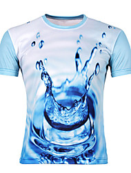Men's Fashion 3D Drop Print Round Collar Slim Fit Short Sleeve T-Shirt, Cotton/Casual /Print