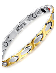 Unisex Jewelry Health Care Silver Gold Titanium Steel Magnetic Therapy Bracelet