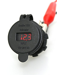 Недорогие -iztoss 2.1a& 2.1a водонепроницаемый двойной USB зарядное устройство телефона зарядное гнездо питания с вольтметром красным светом
