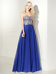 cheap -A-Line Sweetheart Floor Length Chiffon Prom Formal Evening Dress with Beading Appliques Lace by Luoge