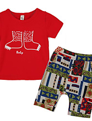 abordables -Ensemble de Vêtements Garçon Sortie Polyester Eté Manches Courtes Rouge