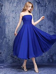 A-Line Strapless Ankle Length Chiffon Bridesmaid Dress with Sash / Ribbon by Shiduoli