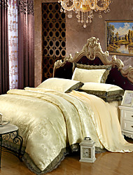 cheap -Duvet Cover Sets Luxury 4 Piece Modal Tencel Jacquard Modal Tencel 2pcs Shams 1pc Sham 1pc Flat Sheet