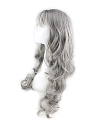 Long Granny Grey Body Wave Synthetic Hair Wig Side Bang Heat Resistant