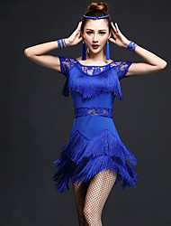 cheap -Latin Dance Dresses Women's Performance Nylon Chinlon Lace Tassel Short Sleeve High Dress