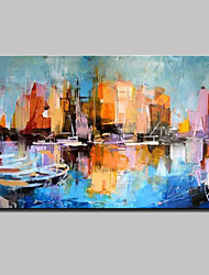 cheap -Large Hand Painted Abstract Boat Landscape Oil Painting On Canvas Wall Art With Stretched Frame Ready To Hang