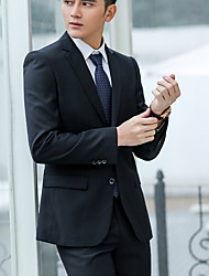 cheap -Men's Work Simple Spring Fall Regular Suits, Solid Cotton Polyester