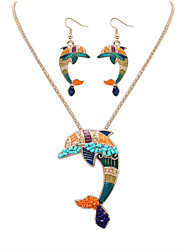 cheap -Women's Jewelry Set - Leather, Resin Dolphin, Animal European, Fashion, Cute Include Necklace / Earrings Silver / Golden For Party / Daily / Casual