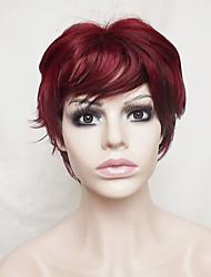 abordables -Mujer Pelucas sintéticas Sin Tapa Corto Ondulado Borgoña Con flequillo Peluca natural Peluca de fiesta Peluca de Halloween Pelucas para