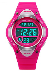 cheap -SKMEI Digital Watch / Sport Watch Alarm / Calendar / date / day / Chronograph Rubber Band Fashion Black / Blue / Pink