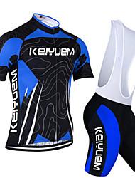 preiswerte -KEIYUEM Kurzarm Fahrradtrikot mit Trägerhosen - Blau Fahhrad Kleidungs-Sets, Rasche Trocknung, Atmungsaktiv, Schweißableitend, Frühling