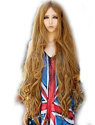 billige -Syntetiske parykker Bølget Gyldent Assymetrisk frisure Syntetisk hår Natural Hairline Gyldent Paryk Dame Lang Lågløs