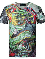 Men's Chinese Style Dragon 3D Print V Collar Slim Fit Short Sleeve T-Shirt, Cotton/Casual / Plus Sizes