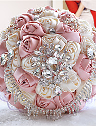"cheap -Wedding Flowers Bouquets Wedding Party / Evening Bead Crystal Rhinestone Polyester Organza Satin 9.06""(Approx.23cm) 11.02""(Approx.28cm)"