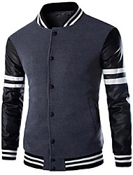 abordables -Hoodie Jacket Homme Décontracté / Quotidien Rayé Lettre Coton Manches longues