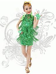 Недорогие -латинские танцы дети спектакль spandex v шеи блестки / кисточки (ы) платья мы должны ®