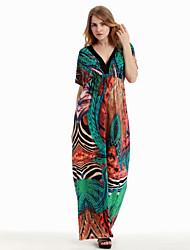 Women's Boho Holiday / Plus Size Boho Swing Dress,Print Asymmetrical Maxi Sleeveless Green Cotton / Polyester Summer