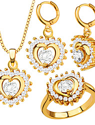 Romantic Luxury Heart Pendant Necklace Earrings Ring 18K Gold Plated Zircon Sets Women Party Dress Accessories S20179