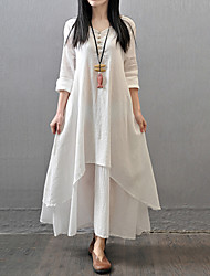 Women's Casual/Daily Simple Chinoiserie Loose Dress,Solid V Neck Maxi Long Sleeve Cotton Polyester Fall Mid Rise Inelastic Thin