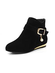Недорогие -Черный Желтый Красный-Для женщин-Для праздника Повседневный-Дерматин-На плоской подошве На толстом каблуке-Удобная обувь-Ботинки