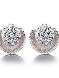 cheap -Women 925 Fine Silver Sea Shell Stud Zircon Earrings for Wedding Party