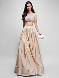 A-Line Two Piece Scoop Neck Floor Length Taffeta Tulle Prom Formal Evening Dress with Beading by TS Couture®