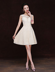 cheap -Sheath / Column Scoop Neck Short / Mini Lace Bridesmaid Dress with Appliques by Embroidered Bridal