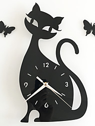 cheap -Diy Mirror Wall Clock Bedroom Special Living Room Mute Wall Clock Cartoon Cute Black Cat Wall Stickers Clock