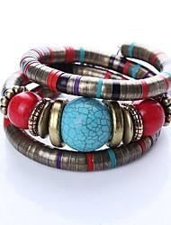 Недорогие -Жен. Браслет цельное кольцо - Богемные, Мода, Многослойный Браслеты Красный Назначение Новогодние подарки Повседневные
