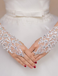 cheap -Lace / Polyester Wrist Length Glove Bridal Gloves / Party / Evening Gloves With Rhinestone