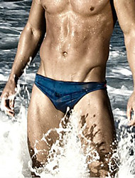 Men's Print Bottoms Swimwear,Polyester White Black Navy Blue Light Blue