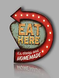 E-HOME® Metal Wall Art LED Wall Decor,EAT HERE Arrowhead Tag LED Wall Decor One PCS