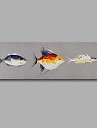 "cheap -Stretched (Ready to hang) Hand-Painted Oil Painting 48""x16"" Canvas Wall Art Modern Abstract Fishes Pop-art"