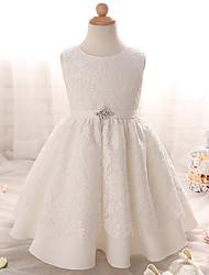 Недорогие -a-line платье для девушки с длинным рукавом - кружевная безрукавная жемчужина с луком (-ами), украшенная кристаллами ydn