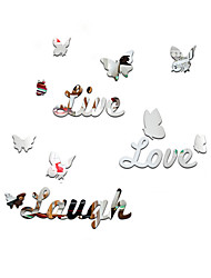 cheap -3D Wall Stickers Wall Decals Style English Alphabet Butterfly Mirror Wall Stickers