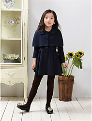 cheap -Girl's Daily Solid Dress,Polyester Winter Spring Fall Long Sleeve Dresswear Navy Blue Wine