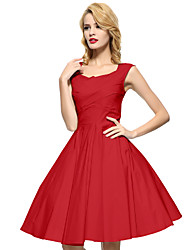 cheap -Women's Party Vintage Plus Size A Line Knee-length Dress,Solid Square Neck Sleeveless