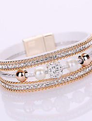 Women's Chain Bracelet Wrap Bracelet Friendship Fashion Multi Layer Bridal Elegant Costume Jewelry Leather Rhinestone Imitation Diamond