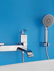 Недорогие -Современный Modern Только душ Водопад Широко распространенный Керамический клапан Два отверстия Одной ручкой Два отверстия Хром,