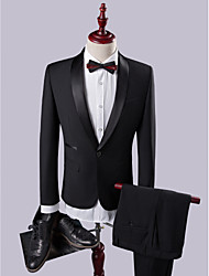 Suits Slim Fit Shawl Collar Single Breasted One-button Solid 2 Pieces Straight Flapped