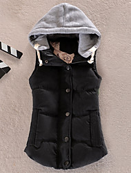 cheap -Women's Regular Down Coat,Casual Daily Sports Solid Patchwork-Cotton Polyester Polypropylene Sleeveless Hooded