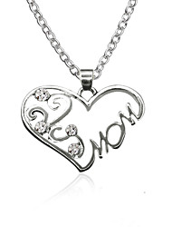 cheap -Women's Heart Rhinestone Zircon Pendant Necklace  -  Fashion Sweet Silver Necklace For Daily Going out
