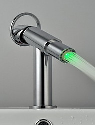 LED Bathroom Sink Faucet Single Handle Faucet With 3 Color Changing LED Light(Water Power)
