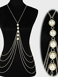 cheap -Pearl / Imitation Pearl Belly Chain / Harness Necklace / Body Chain - Women's Gold / Silver Tassel / Sexy / Multi Layer Jewelry Body