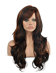 cheap -Top Quality Ombre Black Brown Color Wig Long Size Wavy Curly Hair Synthetic Wigs