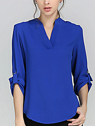cheap -Women's Work Plus Size Polyester Blouse - Solid Color, Racerback V Neck