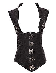 cheap -Women's Lace Up Plus Size Overbust Corset-Solid